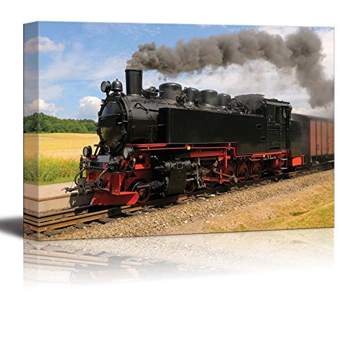 Steam Train with Black Smoke Running on Island Rugen Northern Germany Wall Decor ation