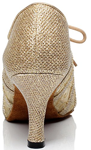 Lace cha Cha Mid Heel Tango Pu Cfp Latin 6229 Party Jj nbsp;da Pcp Gold shoes Rumba Dance up Ballroom Donna xqwBng4pw6