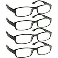 Reading Glasses _ Best 4 Pack for Men and Women _ Have a Stylish Look and Crystal Clear Vision When You Need It! _ Comfort Spring Arms & Dura-Tight Screws _ 100% Guarantee +2.50