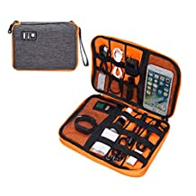 ELETECPRO Double Layer Travel Bag,Universal Electronics Case Bag/Cable organizer for Ipad/Kindle/Cables/Chargers/Earphones/Hard Drives/Gray and Orange