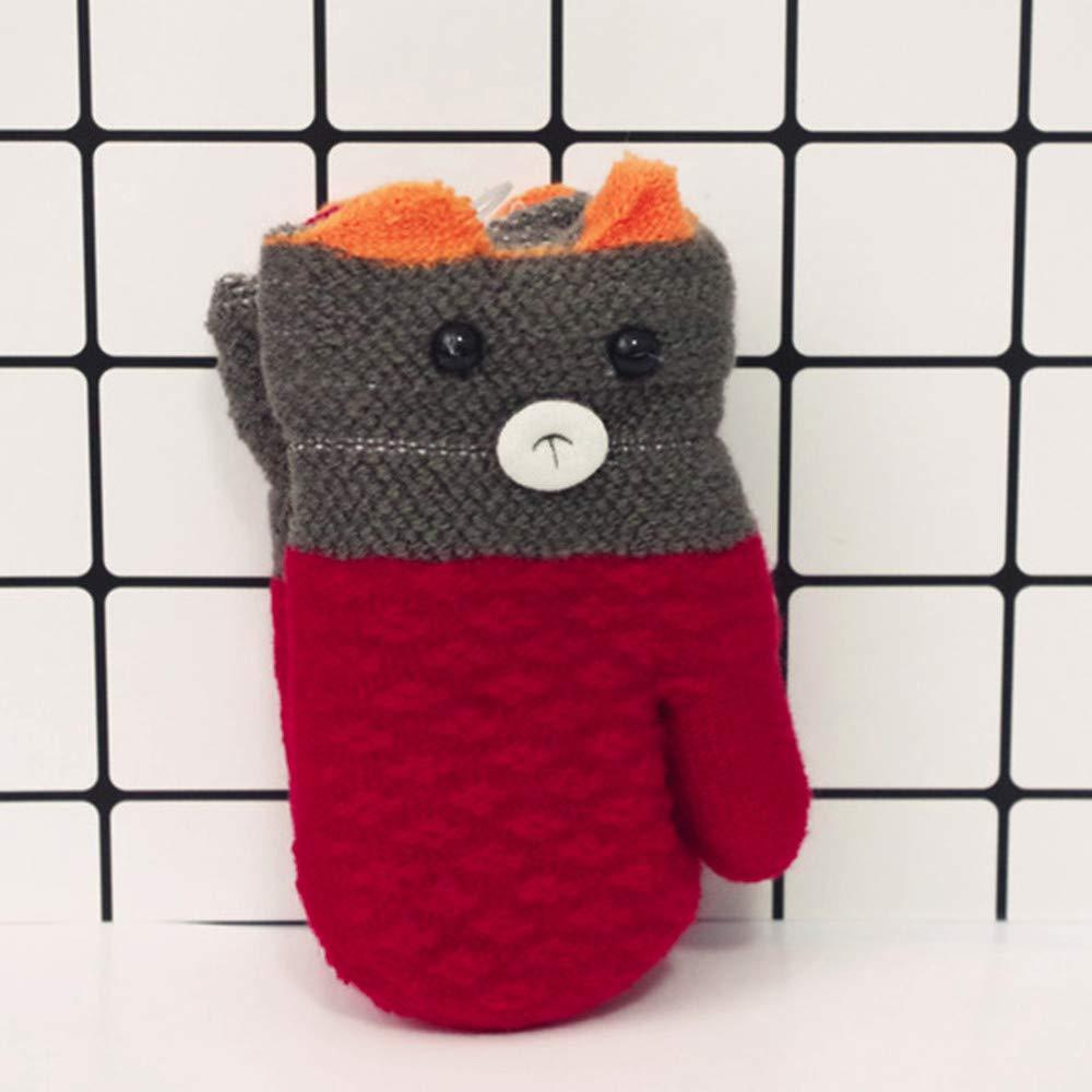 Qualified 1pair Childrens Gloves For Girls Cute Cartoon Monkey Thicken Infant Baby Girls Boys Of Winter Warm Gloves Mittens For Children Professional Design Gloves & Mittens