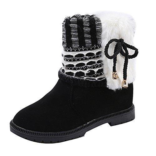 Kvinners Støvler, Hatop Kvinners Bowknot Vinter Støvletter Varme Ankelstøvler Varm Vinter Martin Sko Svart