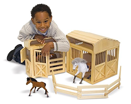 Melissa & Doug Folding Wooden Horse Stable Dollhouse With Fence