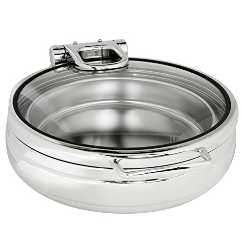 Eastern Tabletop 3988G Jazz Rock 6 Qt. Stainless Steel Round Induction Chafer with Hinged Glass Dome Cover