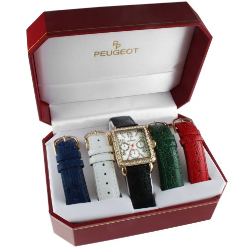 Peugeot Women's 14k Gold Plated Crystal Bezel Five Easy Release Interchangeable Leather Bands Watch Gift Set 677G ()
