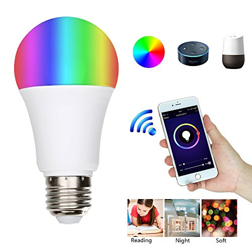 WiFi Smart LED Light Bulb,URPIRE E27 11W RGB Dimmable Led Bulb Works with Amazon Alexa Google Assistant Color Changing for Decoration