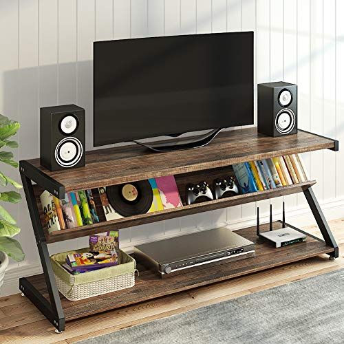 - LITTLE TREE TV Stand, Entertainment Center with Shelves for 60 Inches TVs, Large 3-Tier Media Stand with Metal Frame, Industrial Rustic TV Console Table for Living Room