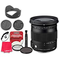Sigma 17-70mm f/2.8-4 DC Macro OS HSM Lens for Canon with Elite Optics Commander Pro HD Series Ultra-Violet Protector UV Filter & Circular Polarizer CPL Multi-Coated Filter - International Version