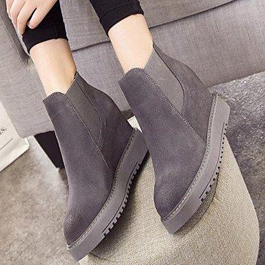 DESY Femme Chaussures Vrai cuir Hiver Confort Bottes Talon Plat Bout rond Pour Décontracté Noir Gris Kaki gray aOxnDgE