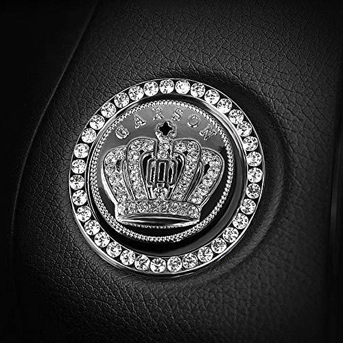 Rhinestone Car Bling Ring Crystal Crown Emblem Sticker Car Engine Start Decoration Ring & Emblem Auto Interior Decal Bling Diamond for Auto Ignition Button (Rhinestone Ring + Crown Emblem Sticker) (Sticker Rhinestone Emblem)