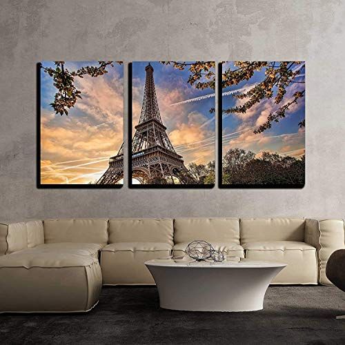 wall26 - 3 Piece Canvas Wall Art - Eiffel Tower with Spring Tree in Paris, France - Modern Home Decor Stretched and Framed Ready to Hang - 16