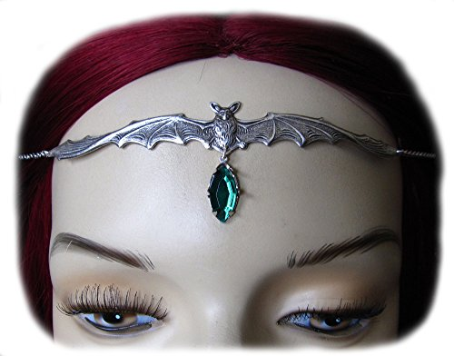 Vampire Bat Headpiece w/ Emerald Green Stone (Gothic Tiara Bat)