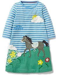 Girls Cotton Casual Dresses, Toddler Cute Stripe Animal Applique Long Sleeve Dress