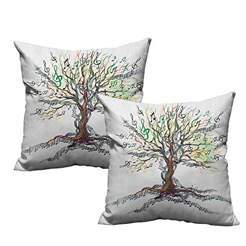 warmfamily Couple Pillowcase Music Musical Tree Autumnal Clef Trunk Swirl Nature Illustration Leaves Creative Design Soft and Durable W18 xL18 2 pcs ()