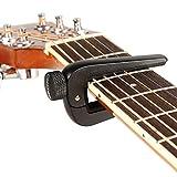 Coocheer Universal Adjustable Zinc Alloy Konb Guitar Capo for 6/12 String Acoustic Guitar,Electric Guitar, Ukulele. (black)