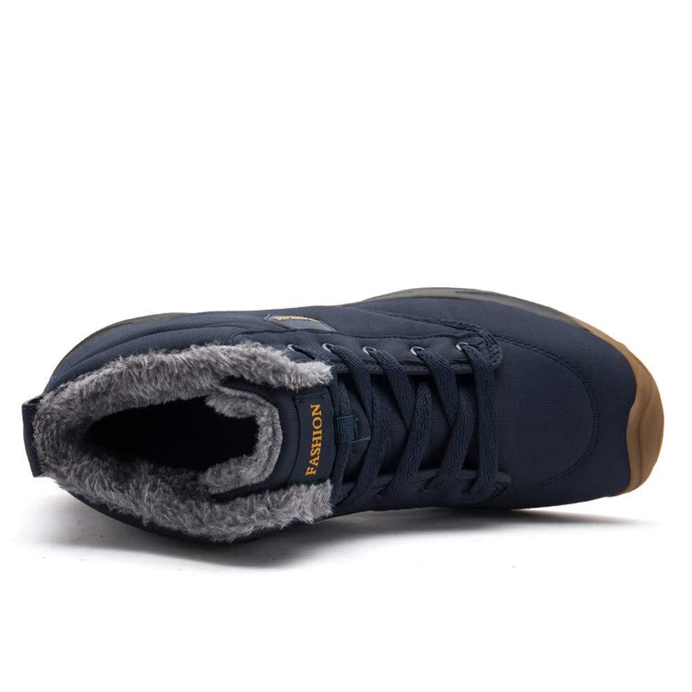 Fashion Leisure Mens Flat Shoe Round Head Keep Warm Non-Slip Lace-UP Snow Boots RedBrowm