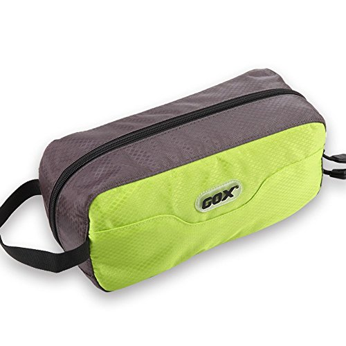 GOX Premium Toiletry Bag, Dopp Kit Case For Travel, Multifunction Cosmetics Organizer Pouch (Green/Grey)