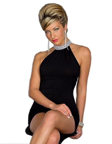 YiYoYo Womens Neck Rhinestone Bodycon Sexy Mini Skirt Night Club Dress