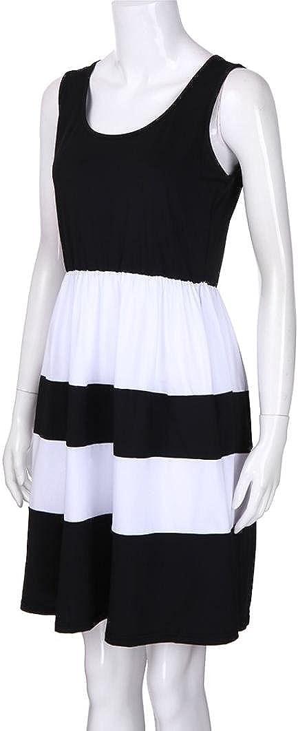 Memela Family Matching Dress,Mommy &Me Women Striped Print Sundress Vest Slim Dress Family Casual Clothes