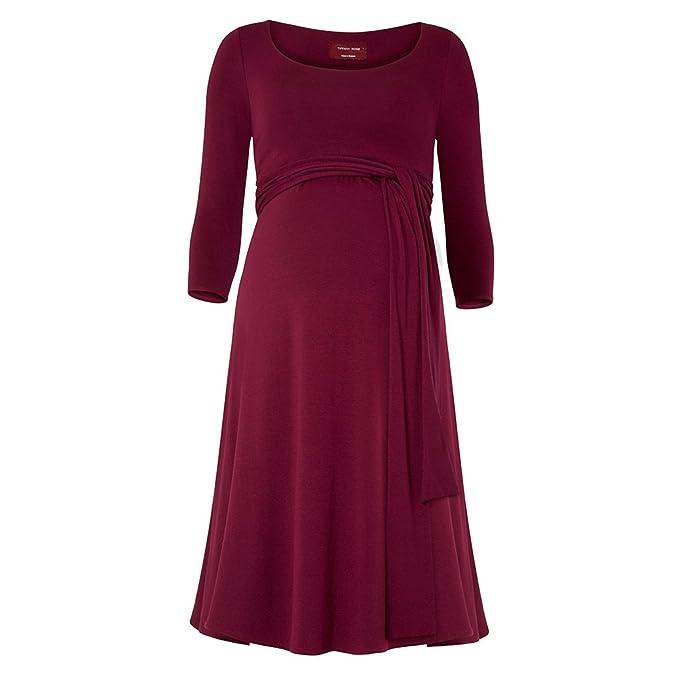 Decdeal Elegante Vestido con Cinturón para Premamá Embarazada, Cuello Redondo, 100% Algodón
