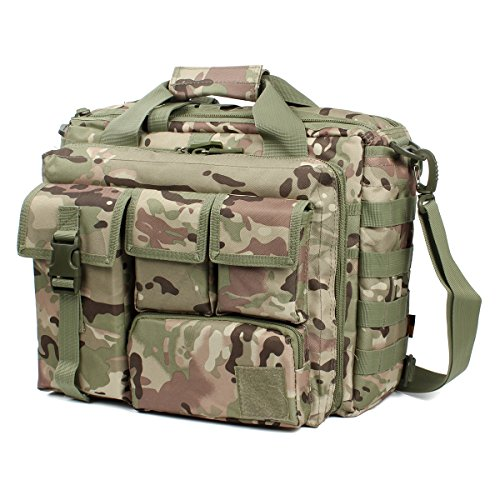 Camouflage Laptop Bag - GES Multifunction Mens Outdoor Tactical Nylon Shoulder Laptop Messenger Bag Briefcase Handbags Large Enough for 15.6