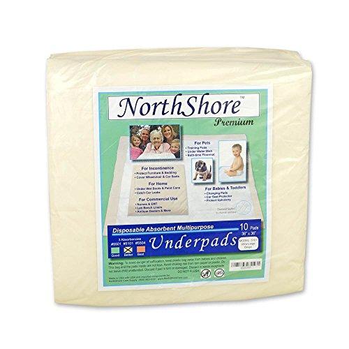 NorthShore Premium, 36 x 36, 50 oz., Beige Super-Absorbent Underpads (Chux), Ultra Large, Pack/10