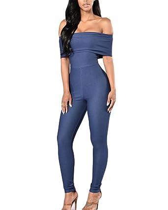 Combinaison Femme Pantalon Longue Épaules Dénudées Slim Casual Jumpsuit  Romper Bleu S b87b291fb927