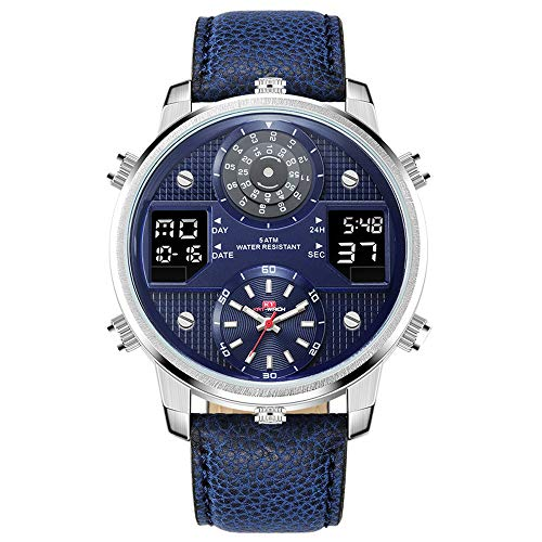 - Men's Business Watches Chronograph Analogue Quartz Watch Men Date Luminous Waterproof Leather Strap Fashion Wristwatch