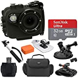 Intova X2 Marine Grade Waterproof Action Cam - Built-In 150-Lumen Light & Wifi, Black + SanDisk 32GB Card + Surf Board & Floatable Cushion + Gadget Bag + Car Mount + Wrist Mount + Handheld Monopod