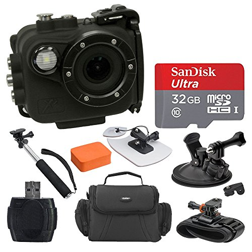Intova X2 Marine Grade Waterproof Action Cam - Built-In 150-Lumen Light & Wifi, Black + SanDisk 32GB Card + Surf Board & Floatable Cushion + Gadget Bag + Car Mount + Wrist Mount + Handheld Monopod by PHOTO4LESS