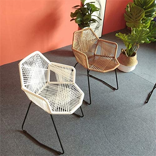 Contemporain Chaise de salle à manger avec dossier en rotin tissé, pour intérieur/extérieur, hauteur du siège 46 cm, noir
