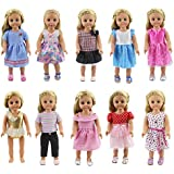 XADP 18 Inch Doll Clothes 10 Different Unique Styles Outfits for American Girl Doll, My Life Doll, My Generation Doll and Other 18 Inch Dolls