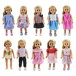 XADP 10 Sets 18 inch Doll Clothes Outfits Gift for American Girl Doll Clothes and Accessories, My Life Doll, Our Generation Doll and Other 18 Inch Dolls