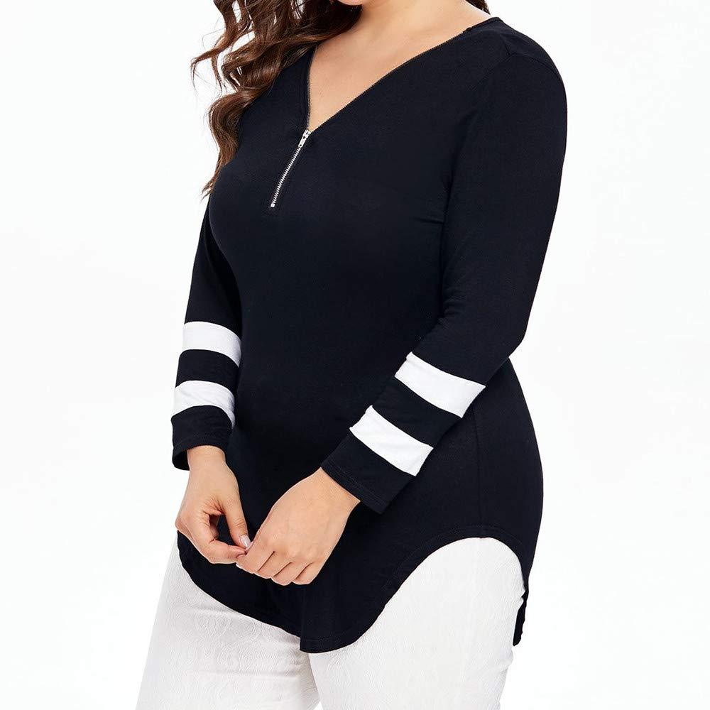 Low-Cut V-Neck Blouse Tops for Women Long Sleeve Casual Shirt Color Match Plus Size Basic Sport Tank Shirt XL-5XL