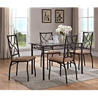 5 Piece Bronze Metal Rectangular Dining Kitchen Dinette Set, Table & 4 Chairs