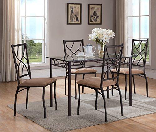5 Piece Bronze Metal Rectangular Dining Kitchen Dinette Set, Table & 4 (Glass Top Dinette)