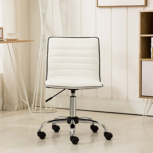 Roundhill Furniture OF1011WH Fremo Chromel Adjustable Air Lift Office Chair in White