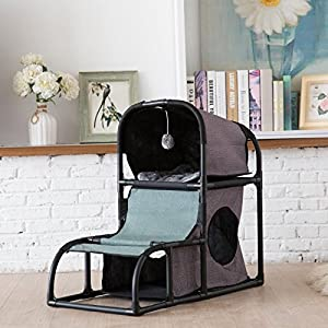 CO-Z 4 in 1 Multi-Functional Cat Tree Condo Furniture, Super Stable Cat Tower House, Combined with Cat Bed, Cat Climber, Peek Holes, Scratching Post & Dangling Toy 67