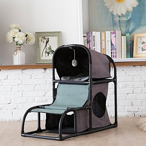 CO-Z 4 in 1 Multi-Functional Cat Tree Condo Furniture, Super Stable Cat Tower House, Combined with Cat Bed, Cat Climber, Peek Holes, Scratching Post & Dangling -