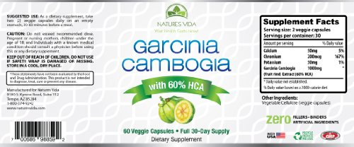 Garcinia Cambogia Extract Natural Appetite Suppresant Weight Loss Supplement 500 mg