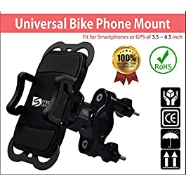 Dshine Universal Bike Phone Holder, Bike Phone Mount 360° Rotatable Bicycle Handlebar Phone Holder for iPhone X/8/8 Plus,Samsung Galaxy S8 Plus/S8/S7 and Other 3.5″-6.5″ Devices, Black