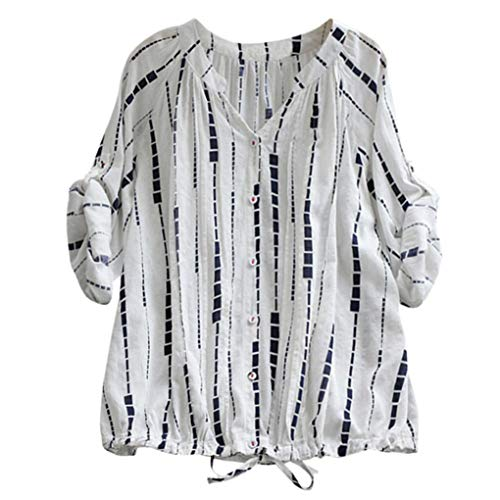 Clearance Women Blouse LuluZanm Long Sleeve Blouse Drawstring Lace Up Casual Striped Top Shirt Tee