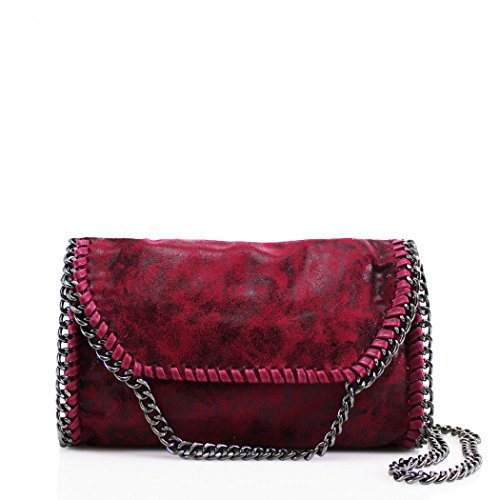 LeahWard? Women's Chain Trim Bags Faux Leather Cross Body Bags For Women Party Handbags CW932 Plum Red Cross Body
