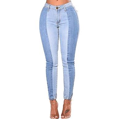 Hopin - Pantalones Vaqueros Pitillo Desgastados Colorblock - Estiramiento de Talle Alto - Azul Claro
