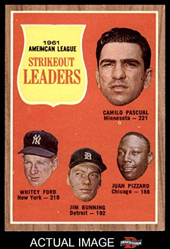 1962 Topps # 59 AL Strikeout Leaders Whitey Ford/Jim Bunning/Camilo Pascual/Juan Pizarro Twins/Yankees/Tigers/White Sox (Baseball Card) Dean's Cards 7 - NM Twins/Yankees/Tigers/White Sox