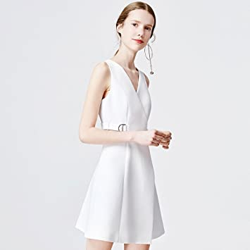 dress Primavera y verano Nuevo blanco temperamento europeo y americano con cuello en V cintura fina