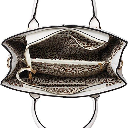 LeahWard® XL Größe Damen Kunstleder Qualität Handtasche Damen Mode Essener Tragetasche Berühmtheit Stil Qualität Taschen CWS00153XL XL Weiß mtVPCp