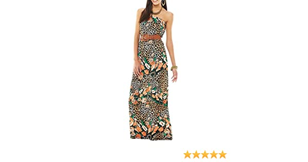 Justify Womens/Juniors Animal Print Floral Strapless Belted Maxi Dress Cheetah (Small) at Amazon Womens Clothing store: