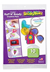 Shrinky Dinks Frosted Ruff n' Ready lets you make unique plastic pieces that look like frosted glass. Just draw or trace an image on the sheet then color, bake and shrink. Make charms, keychains, ornaments, jewelry, toys or anything you can i...