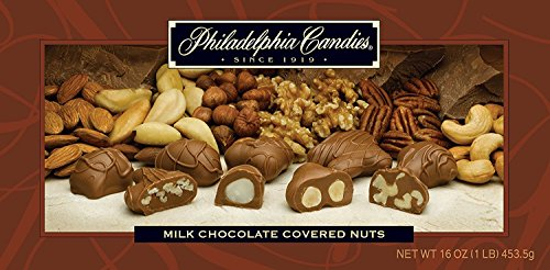 Philadelphia Candies Milk Chocolate Covered Assorted Nuts, 1 Pound Gift Box (Almond, Brazil, Cashew, Hazelnut, Pecan, Walnut) ()